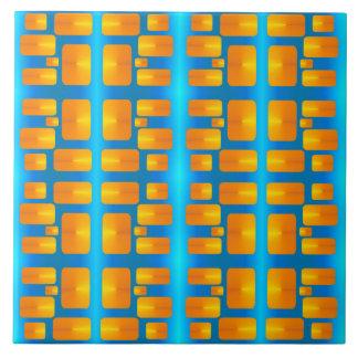 Azulejo De Cerámica Aguamarina abstracta del Minimalism y naranja