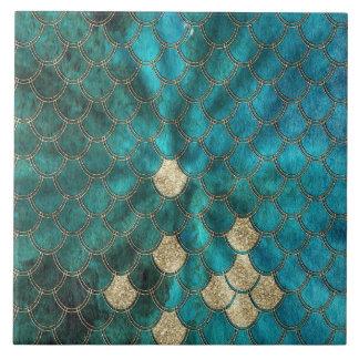 Azulejo De Cerámica Aguamarina Mermaidscales verde con brillo del oro