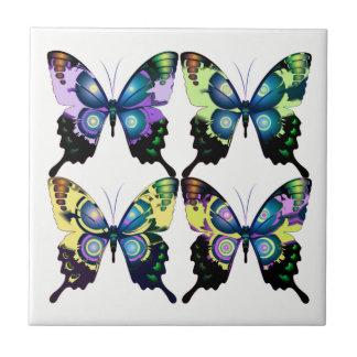 Azulejo De Cerámica Aguamarina, rosa, y amarillo - mariposas elegantes