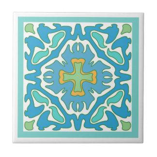 Azulejo De Cerámica Aguamarina y extracto del verde con acento