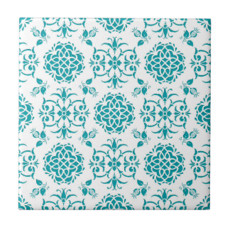 Azulejo De Cerámica Aguamarina y modelo floral blanco del damasco
