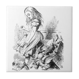 Azulejo De Cerámica Alicia y una caja de animales