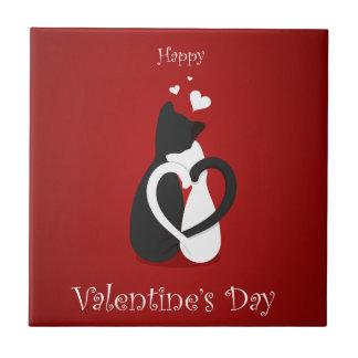Azulejo De Cerámica Amor lindo de los gatos del el día de San Valentín