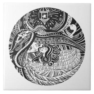 Azulejo De Cerámica Ángel de cerámica de Girl_black del partido de