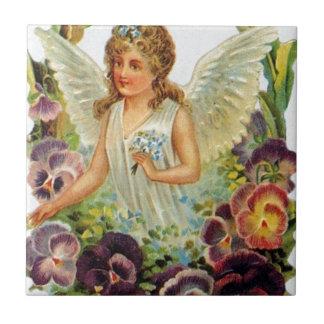Azulejo De Cerámica Ángel del Victorian con las flores