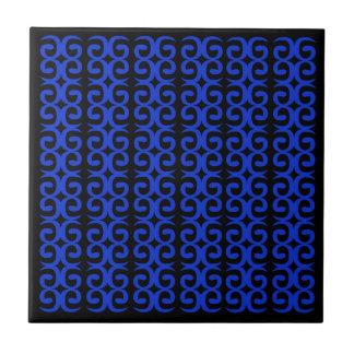 Azulejo De Cerámica Arte handdrawn de la moda del NEGRO AZUL de