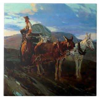 """Azulejo De Cerámica Arte occidental """"California u Oregon """" de Frank T"""