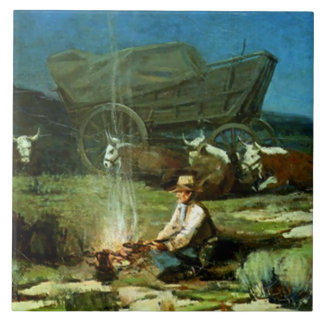 "Azulejo De Cerámica Arte occidental ""noche sola "" de Frank Tenney"
