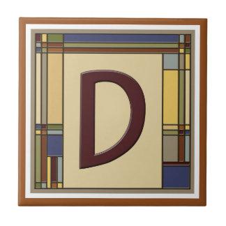 Azulejo De Cerámica Artes maravillosos y inicial geométrica D de los