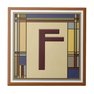 Azulejo De Cerámica Artes maravillosos y inicial geométrica F de los