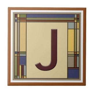 Azulejo De Cerámica Artes maravillosos y inicial geométrica J de los