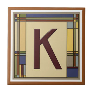 Azulejo De Cerámica Artes maravillosos y inicial geométrica K de los