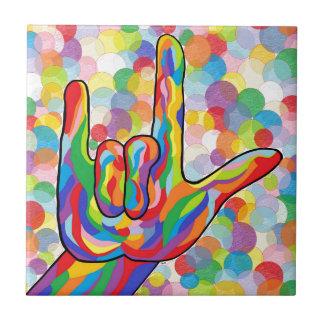 Azulejo De Cerámica ASL te amo con el fondo de la burbuja