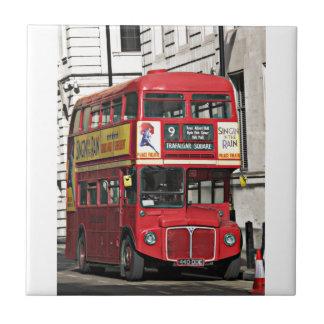 Azulejo De Cerámica Autobús rojo de Londres del vintage