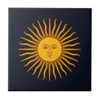 Azulejo De Cerámica Azul amarillo del símbolo del planeta de la