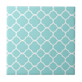 Azulejo De Cerámica Azul Quatrefoil de Shell de la lapa