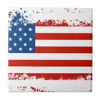 Azulejo De Cerámica Bandera americana apenada