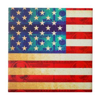 Azulejo De Cerámica Bandera del dinero de América