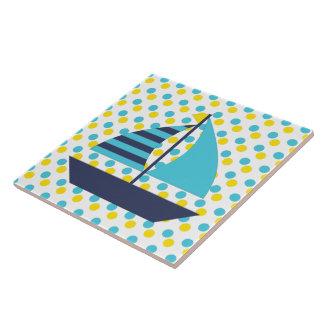 Azulejo De Cerámica Barco de vela del verde azul