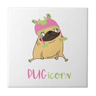 Azulejo De Cerámica Barro amasado divertido del unicornio de Pugicorn