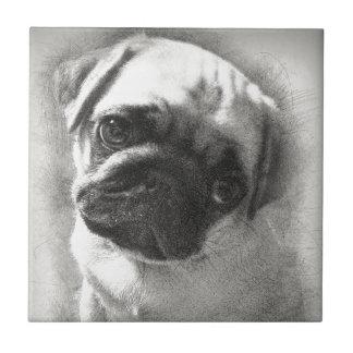Azulejo De Cerámica Bosquejo del perro de perrito del barro amasado