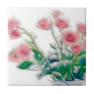 Azulejo De Cerámica Bosquejo del ramo color de rosa