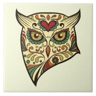 Azulejo De Cerámica Búho del cráneo del azúcar - diseño del tatuaje