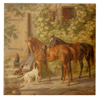 Azulejo De Cerámica Caballos del vintage en el pórtico Albrecht Adán