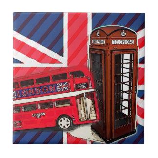 Azulejo De Cerámica Cabina de teléfono roja del autobús retro de Union