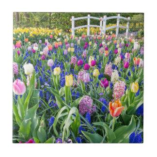 Azulejo De Cerámica Campo de flores con los jacintos y el puente de