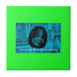 Azulejo De Cerámica Cara del dinero del amante del efectivo (plástico