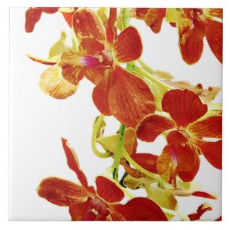 Azulejo De Cerámica Cascada de orquídeas anaranjadas