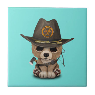 Azulejo De Cerámica Cazador del zombi de Cub de oso del bebé