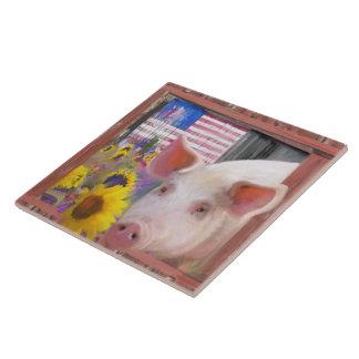 Azulejo De Cerámica Cerdo feliz 2 de Marin del oeste