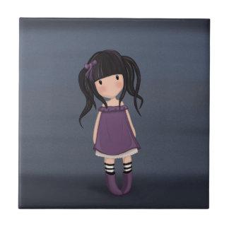 Azulejo De Cerámica Chica del carro en púrpura