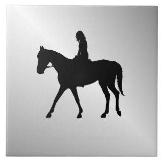 Azulejo De Cerámica Chica en la plata del caballo