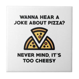 Azulejo De Cerámica Chiste de la pizza