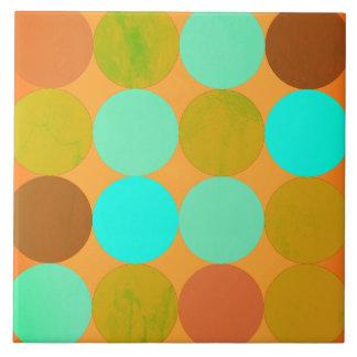 Azulejo De Cerámica Círculos del verde y del naranja de azules