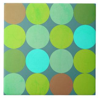Azulejo De Cerámica Círculos verde azulados de la turquesa y del moho