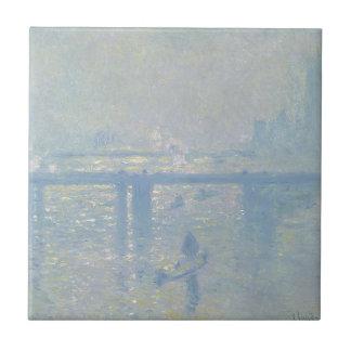 Azulejo De Cerámica Claude Monet - puente cruzado de Charing. Arte