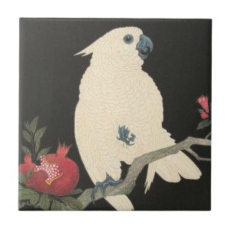 Azulejo De Cerámica Cockatoo blanco japonés de la bella arte el | del