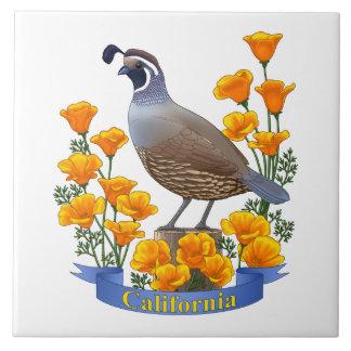 Azulejo De Cerámica Codornices del pájaro de estado de California y