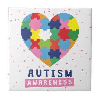 Azulejo De Cerámica conciencia rosada del autismo