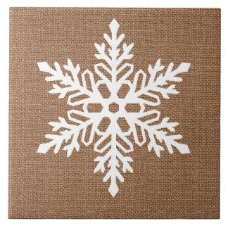 Azulejo De Cerámica Copo de nieve en navidad del estilo rural de la