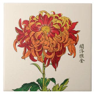 Azulejo De Cerámica Crisantemo del japonés del vintage. Moho y naranja