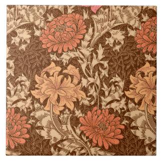 Azulejo De Cerámica Crisantemos, Brown y moho de William Morris