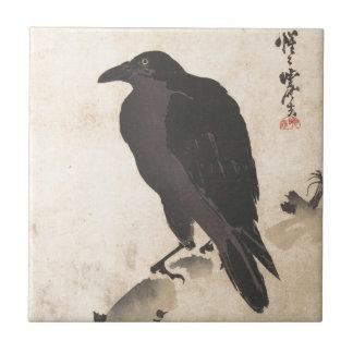 Azulejo De Cerámica Cuervo de Kawanabe Kyosai que descansa sobre el