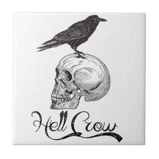 Azulejo De Cerámica Cuervo Halloween del infierno