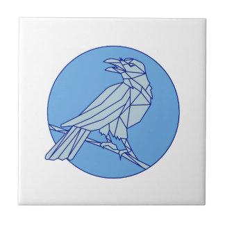 Azulejo De Cerámica Cuervo que se encarama mirando la mono línea del