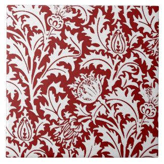 Azulejo De Cerámica Damasco del cardo de William Morris, rojo oscuro y